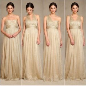 Jenny Yoo Annabelle Gold Tulle Sparkly Gown